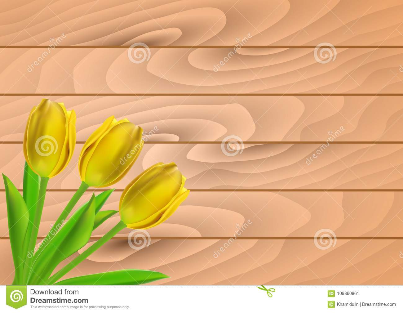 vector greeting card template with tulip flowers on wooden planks