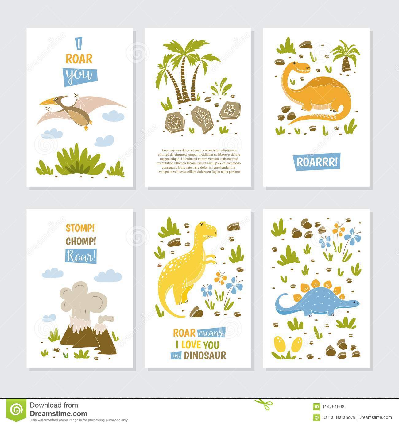 Vector Greeting Cards Stock Vector Illustration Of Animals 114791608