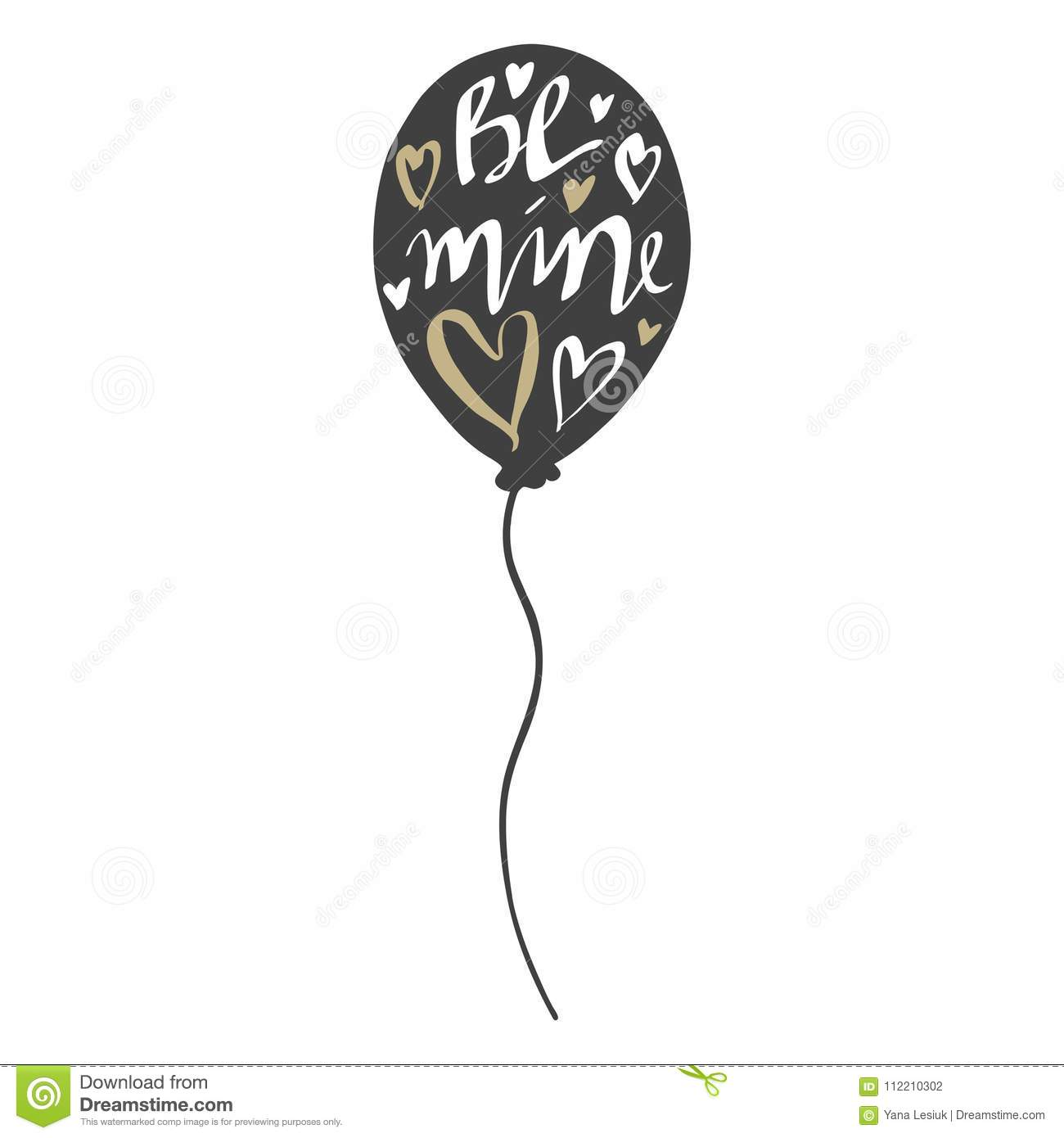 Vector greeting cards on valentines day with balloons be mine for vector greeting cards on valentines day with balloons doodle illustrations cute design hand drawn art inspirational lettering be mine for lovers m4hsunfo