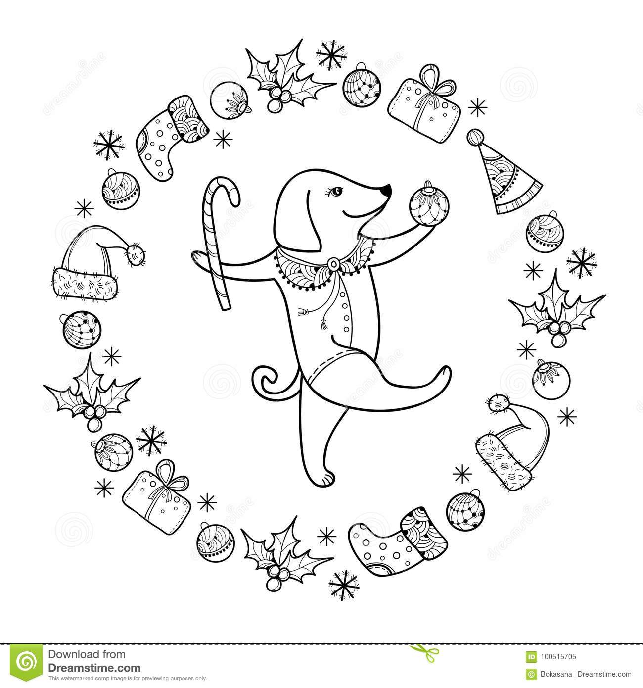 vector greeting with outline happy dog with christmas cane in black