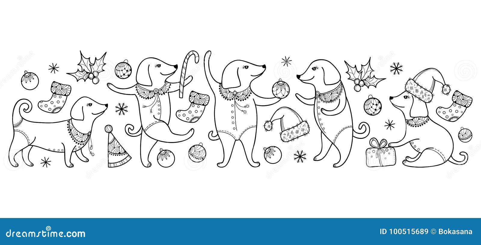 Vector Grenze mit dem glücklichen Hund des Entwurfs im Schwarzen lokalisiert auf weißem Hintergrund Symbol von Chinesischem Neuja