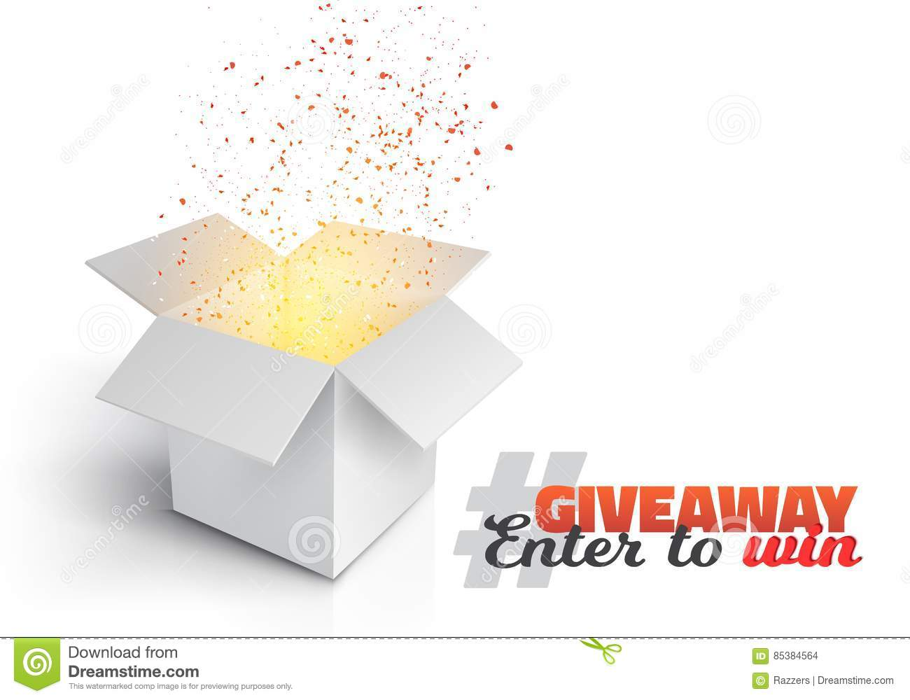 vector grey box giveaway competition template stock vector