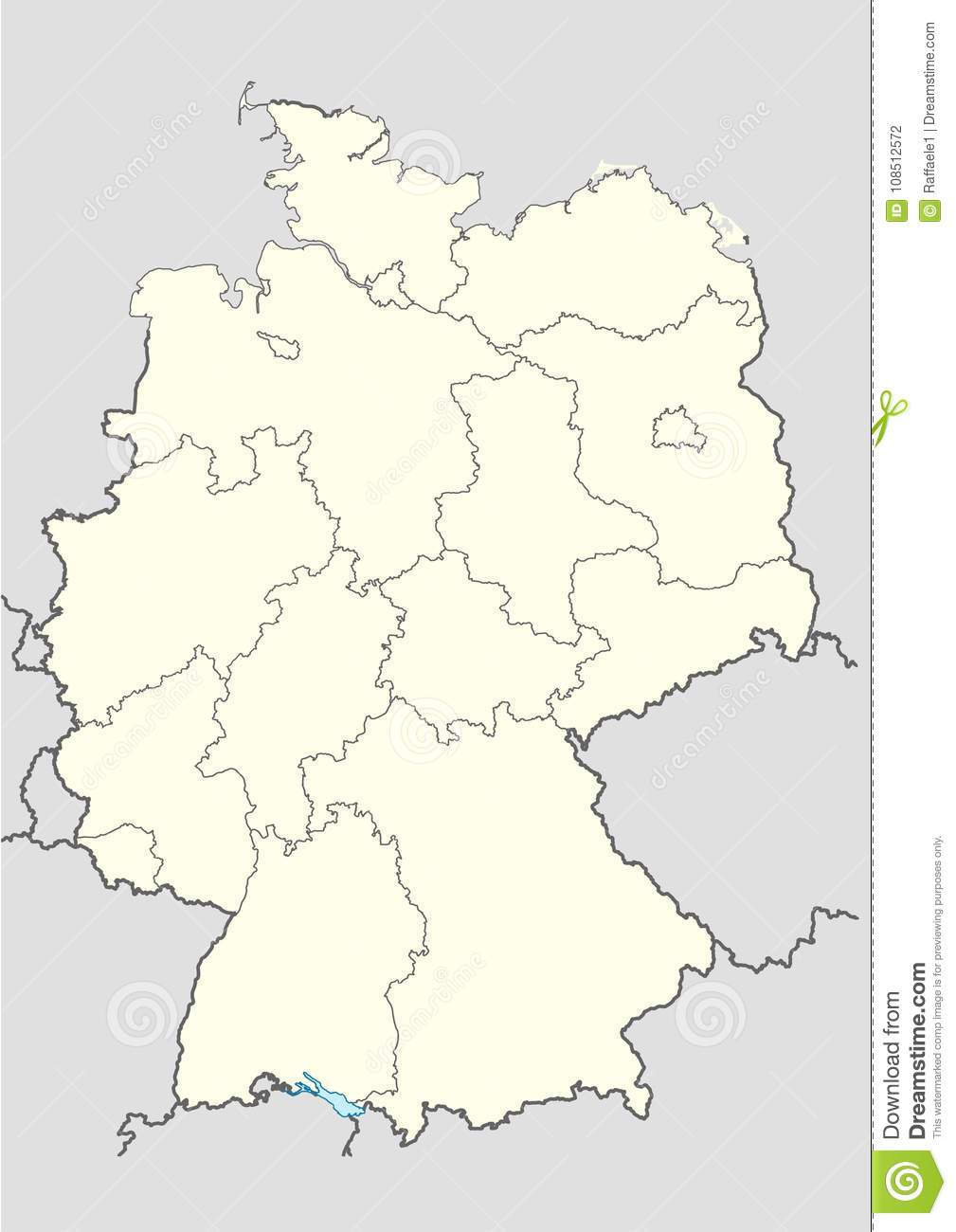 Vector Map Of The Germany Stock Vector Illustration Of Switzerland
