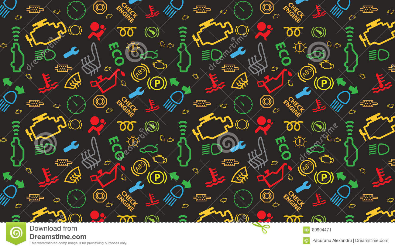 Vector Grey Seamless Pattern Car Dashboard Icons Texture - Car sign on dashboard