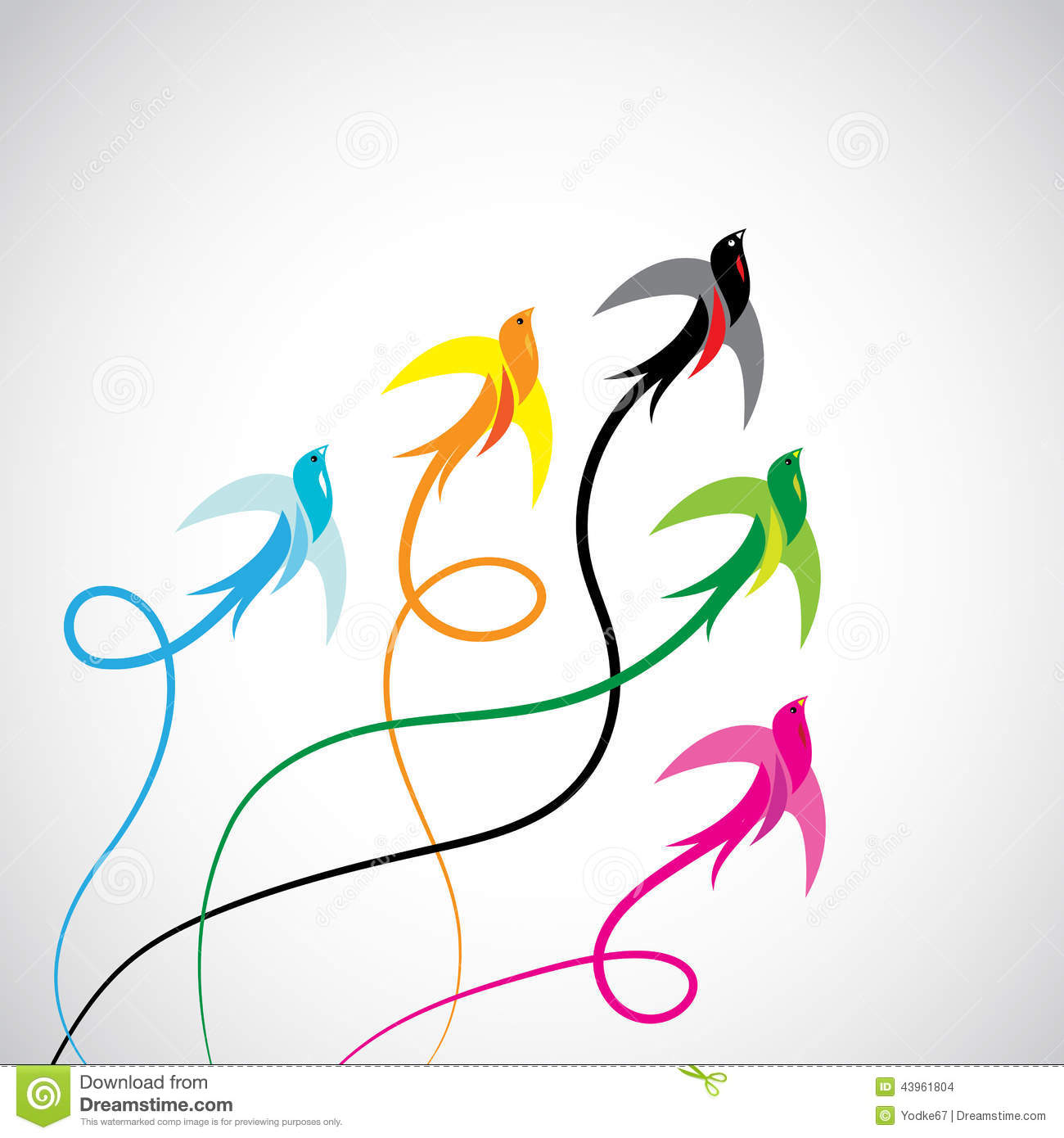 Vector Group Of Colorful Swallow Birds Stock Vector - Image: 43961804 Group Of Colorful Birds