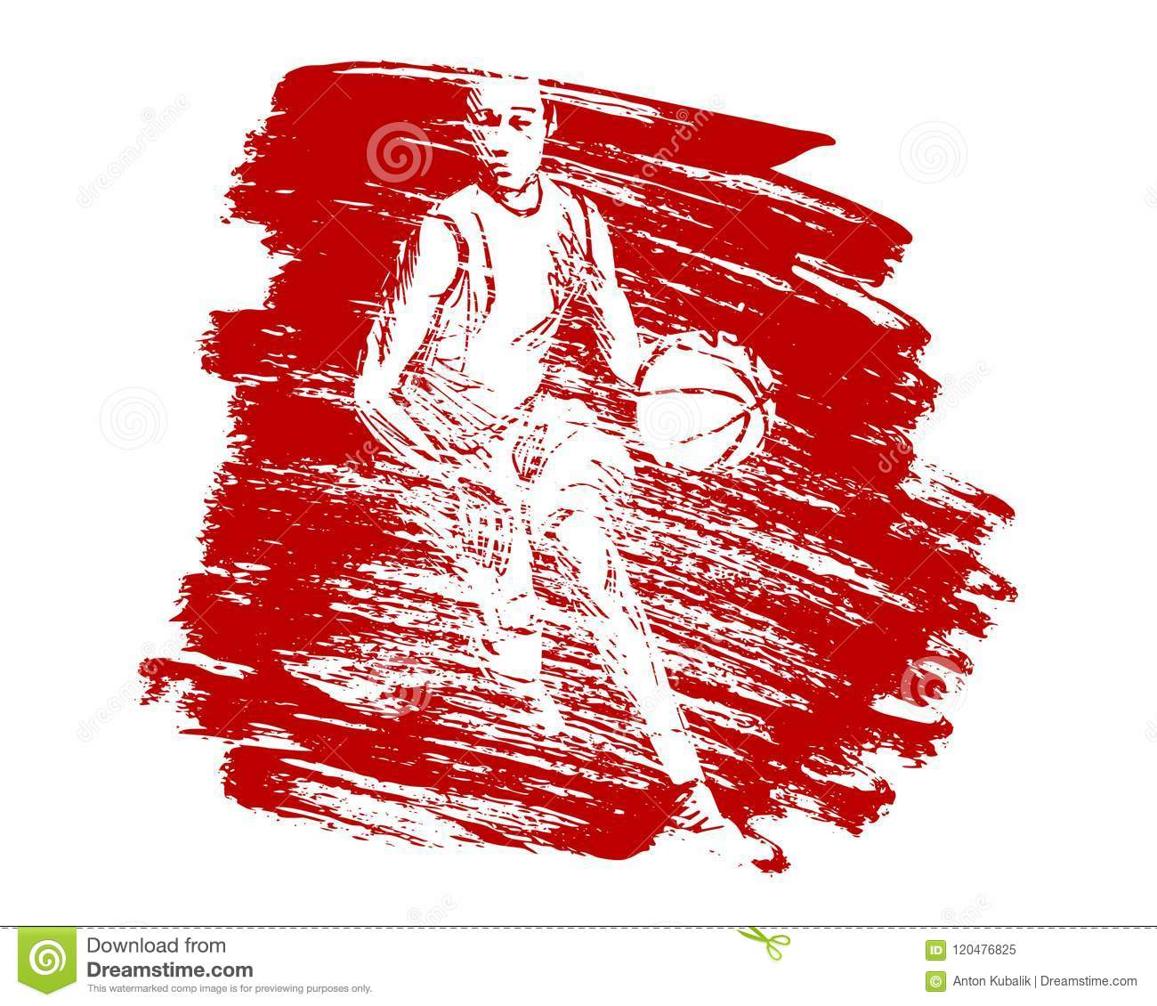 Vector grunge background with basketball player