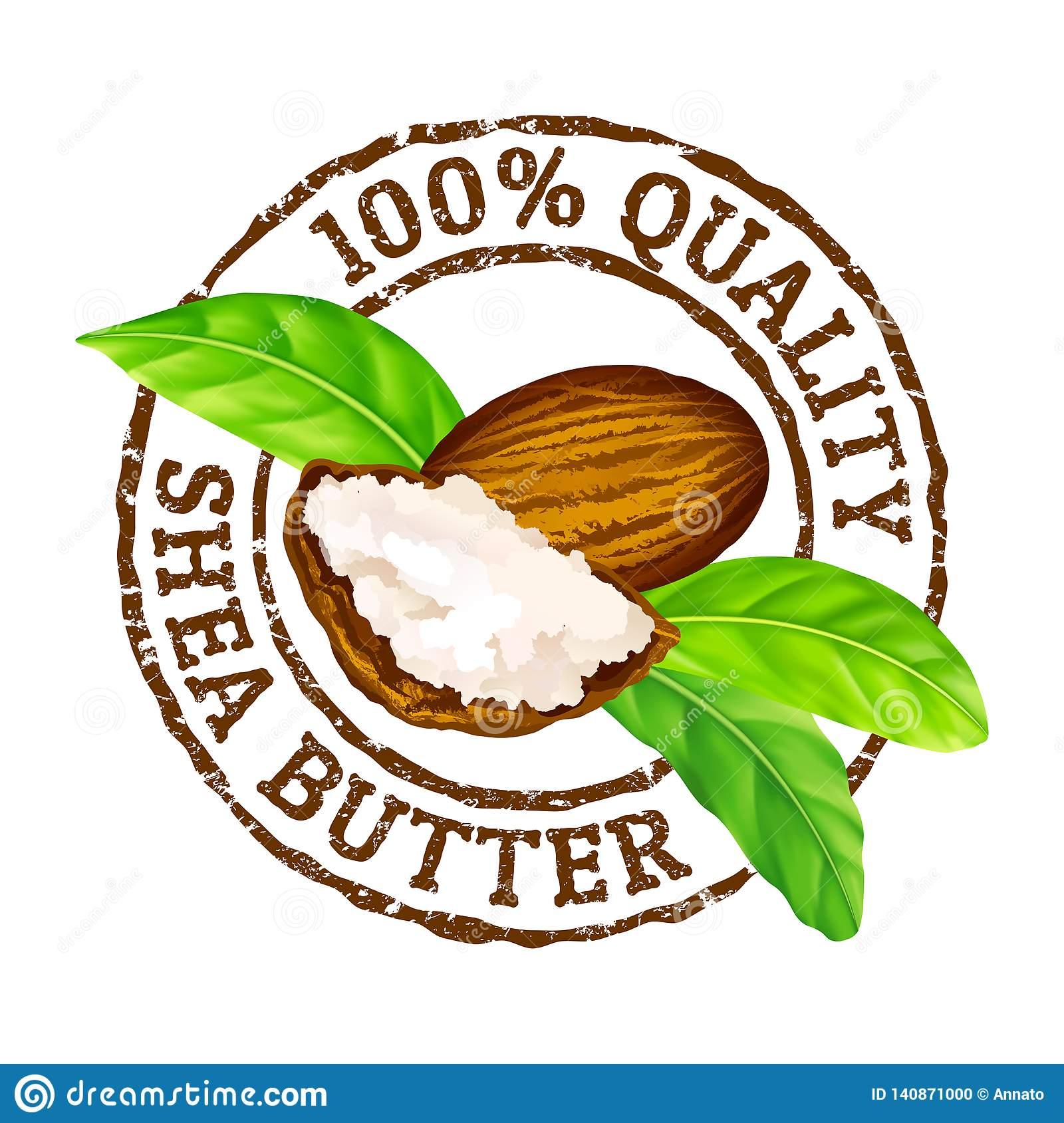 Vector grunge rubber stamp 100 quality shea butter on a white background.