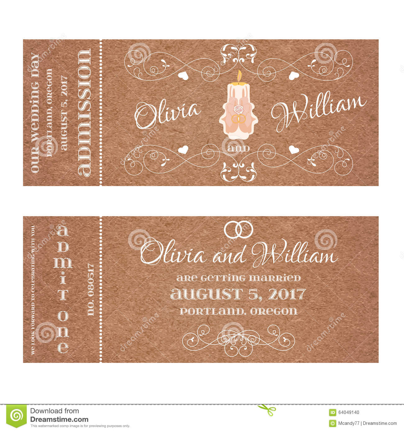 Candlelight Wedding Invitations: Vector Grunge Ticket For Wedding Invitation With Burning