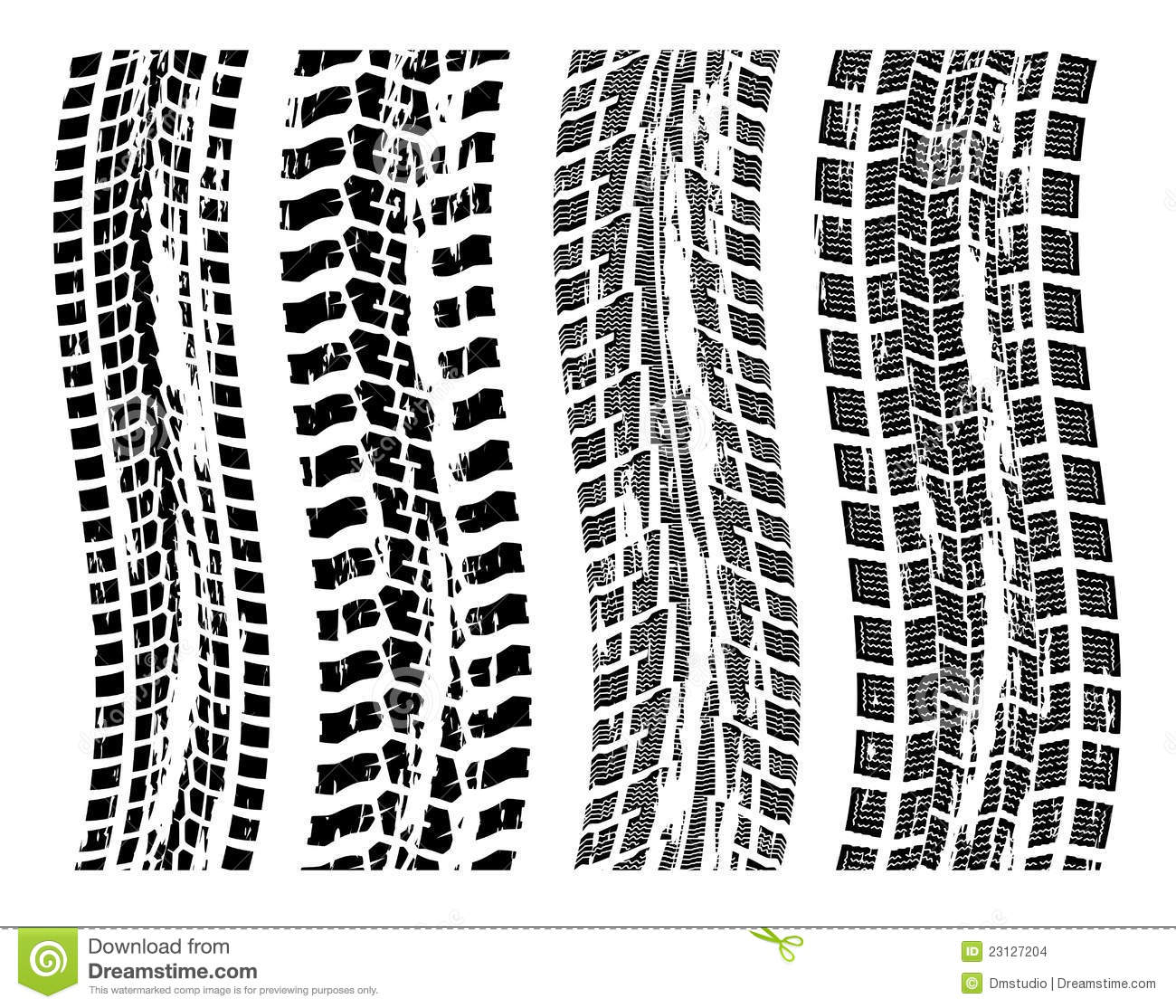 Vector Grungy Tire Prints Stock Images - Image: 23127204