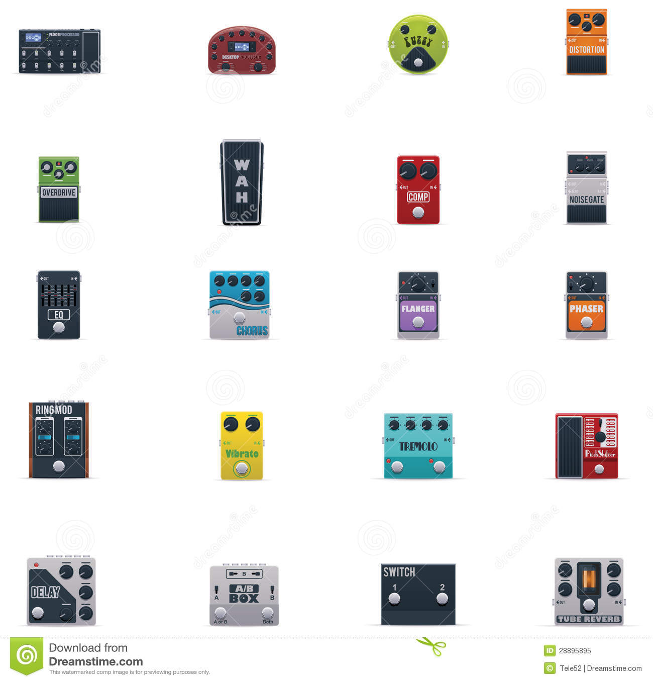 vector guitar effects icons set stock vector illustration of equalizer instrument 28895895. Black Bedroom Furniture Sets. Home Design Ideas