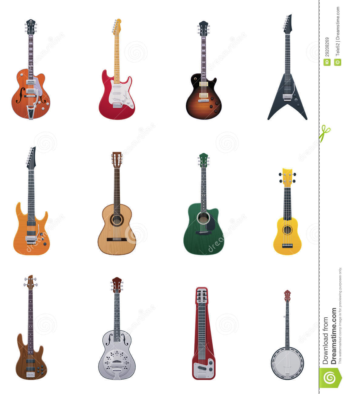 vector guitars icon set stock vector illustration of resonator 29208269. Black Bedroom Furniture Sets. Home Design Ideas