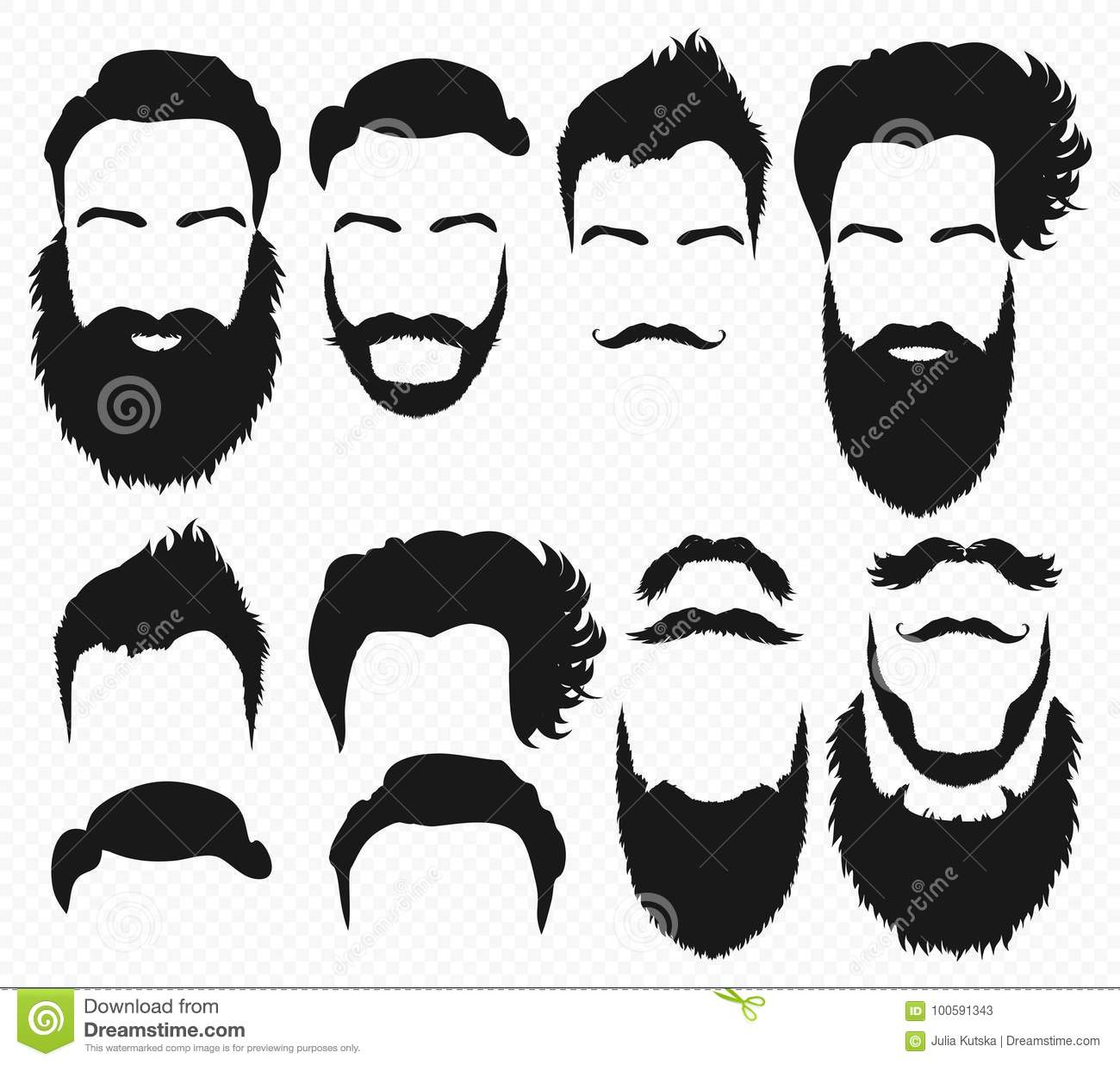Awesome Vector Hair And Beard Shapes Design Constructor With Men Vector Natural Hairstyles Runnerswayorg