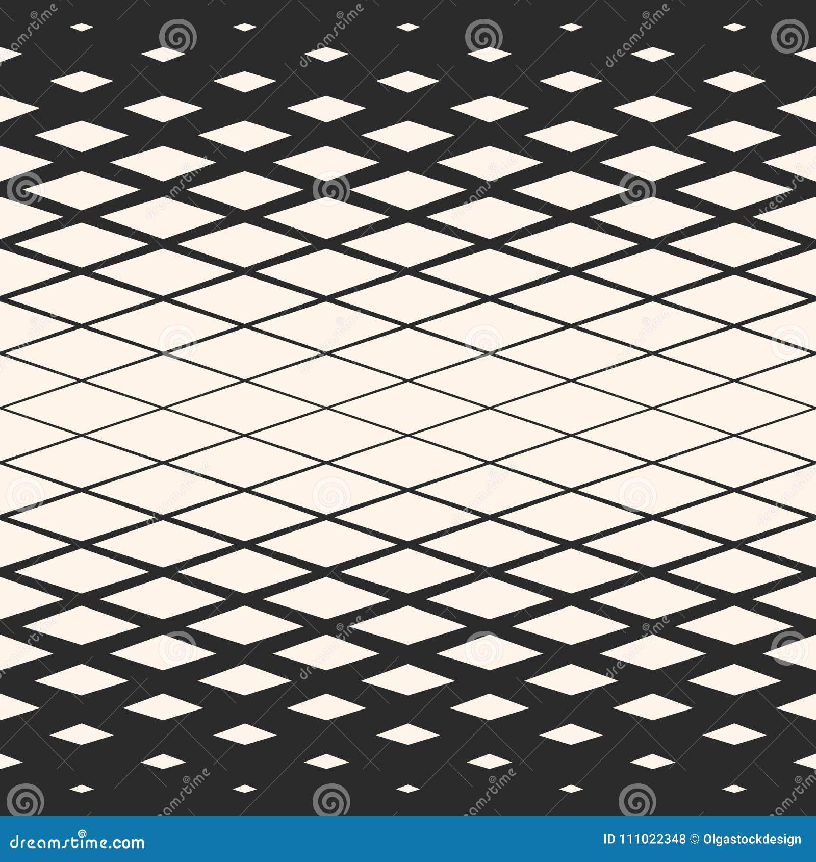 26c570119c3816 Vector halftone geometrisch naadloos patroon met diagonaal net, die lijnen,  netwerk, rooster, ruiten, diamantvormen kruisen Abstracte zwart-witte  textuur ...
