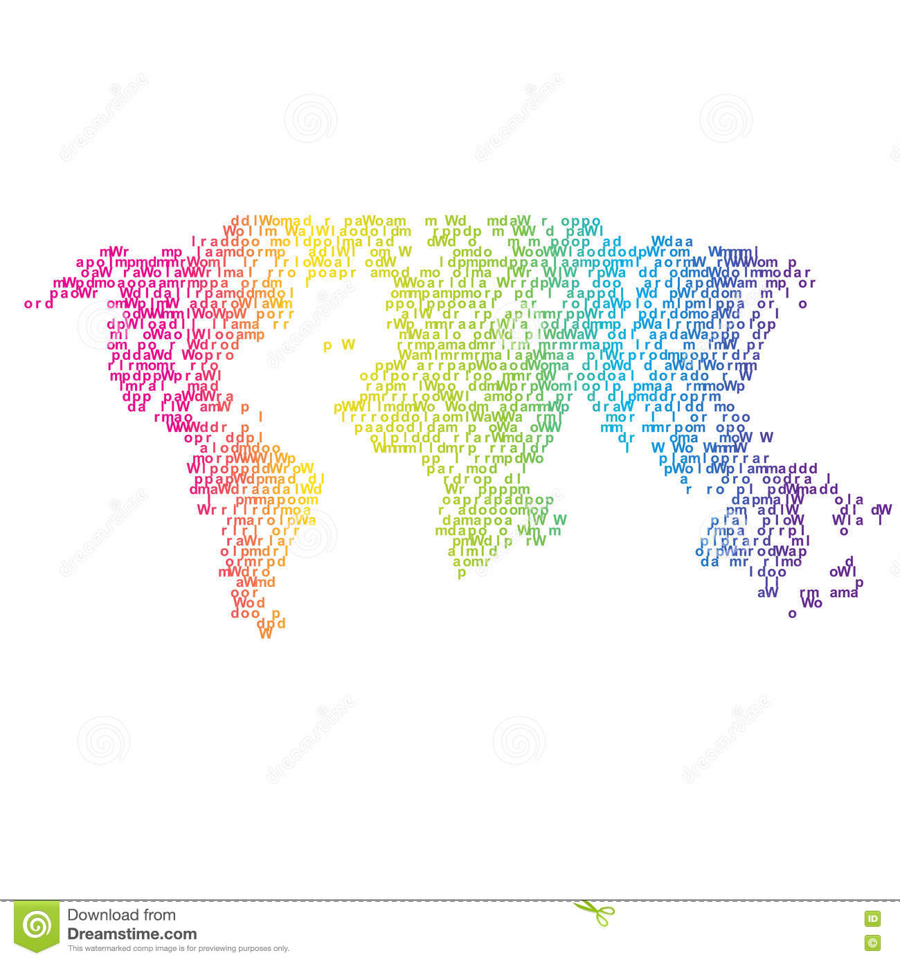 Vector Halftone Letters World Map. Continents For Your