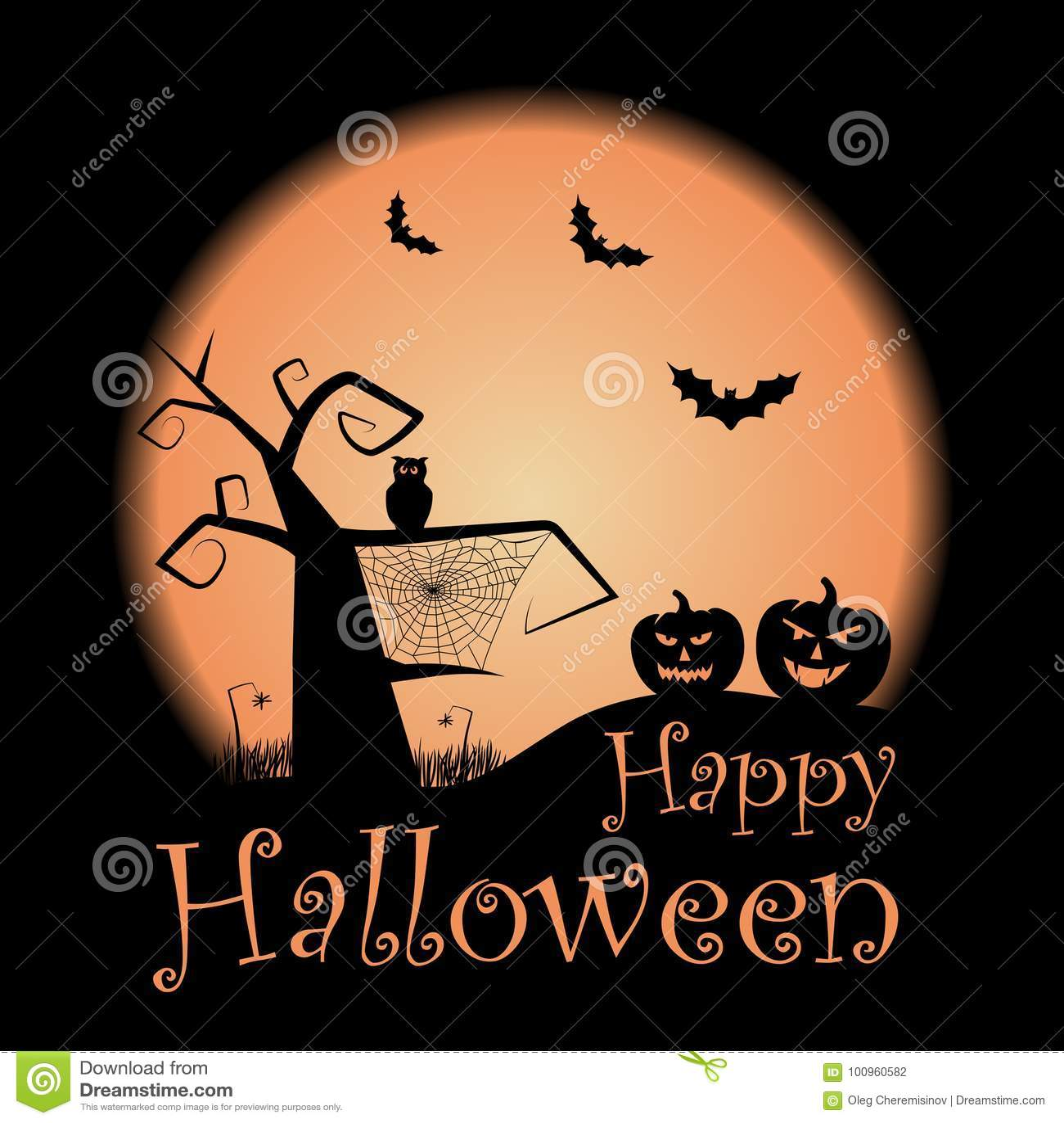 Happy Halloween Illustration. Vector Halloween Design Template With ...