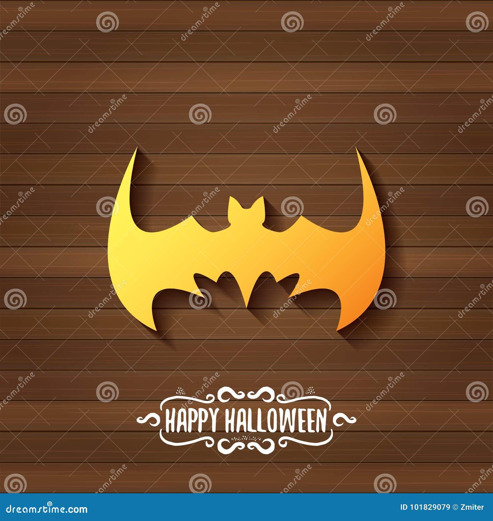Vector Halloween Golden Bat Animal Silhouette Label Stock Vector