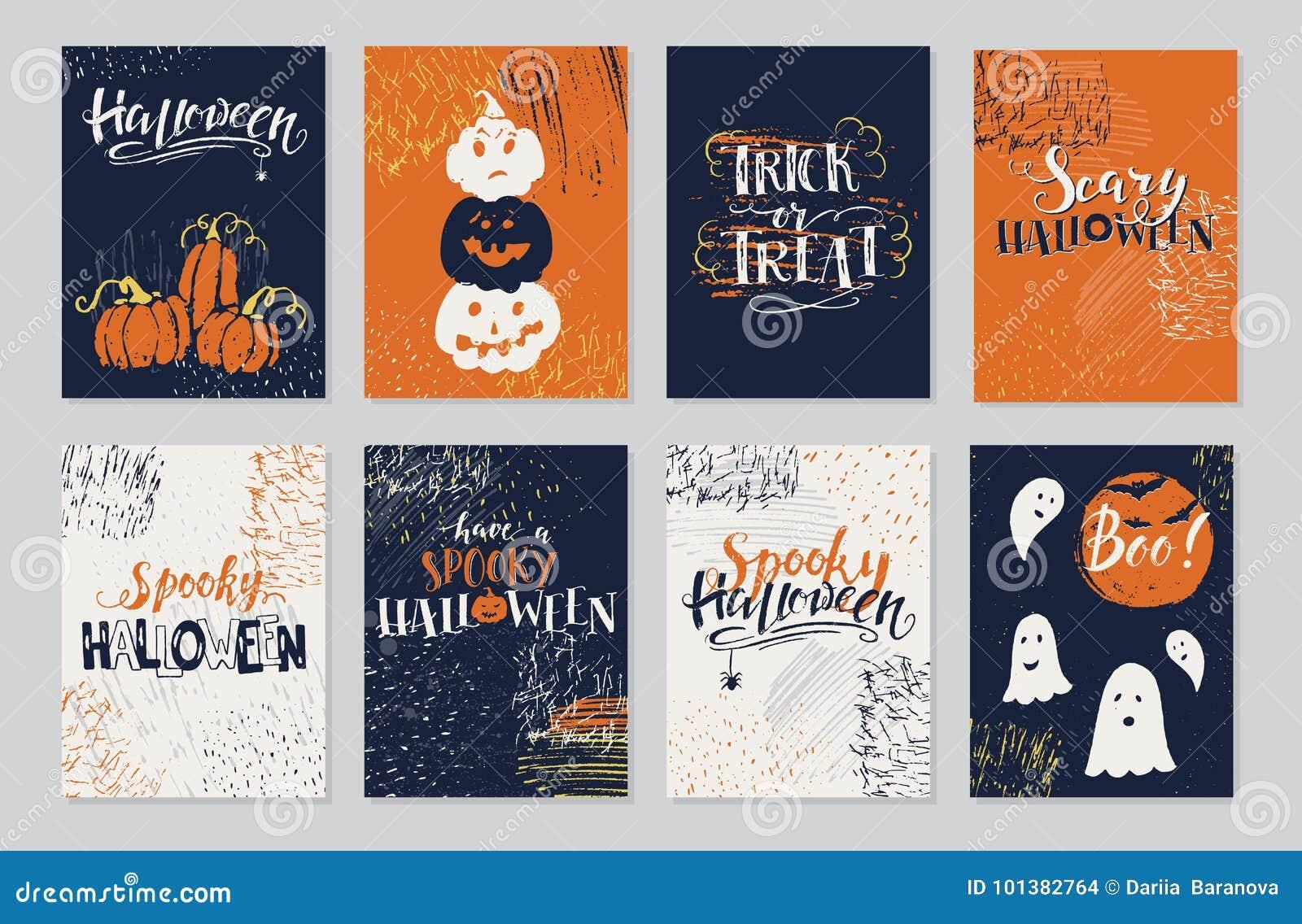 halloween cards set stock vector illustration of horror 101382764