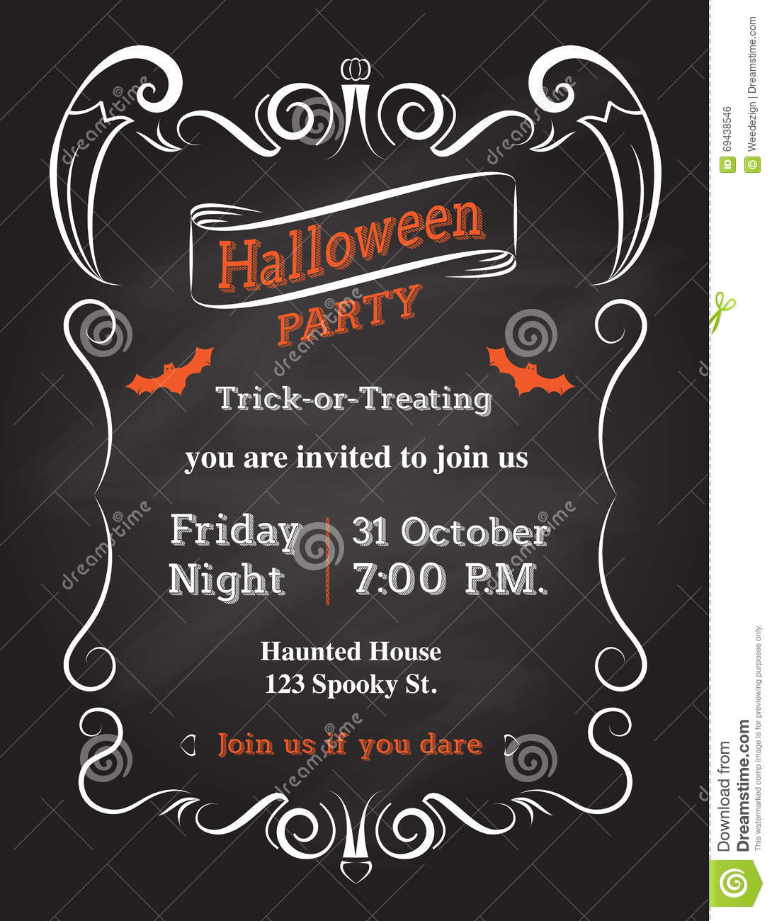 Vector Halloween Invitation Card To Party Stock Vector