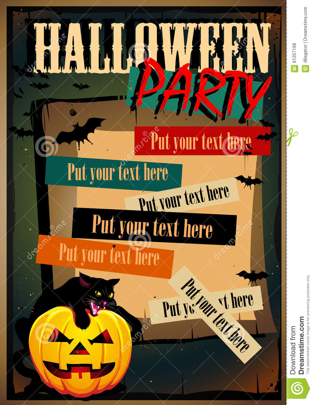 Vector Halloween Poster with a cat