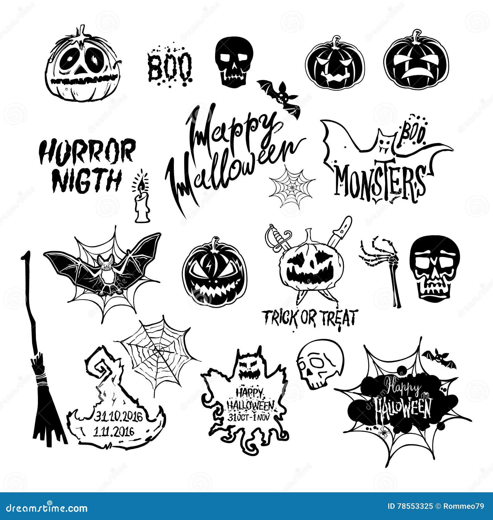 Vector Halloween Set Drawn Halloween Symbols Pumpkin Broom Bat