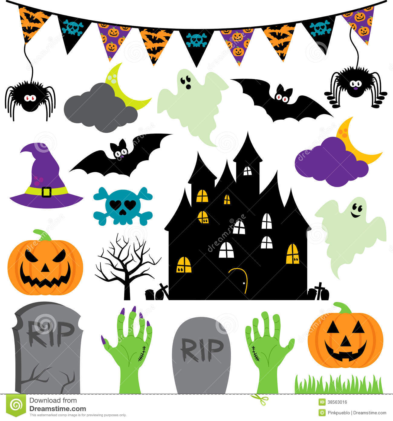 Halloween decoration clipart - Vector Halloween Set With Scary And Cute Elements Royalty Free Stock Image