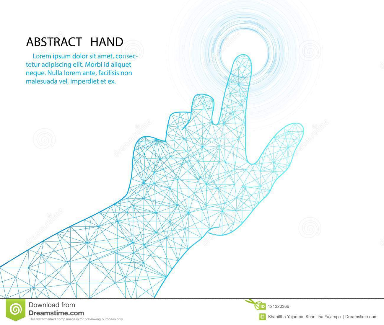 Vector hand and circle tech design on white color background.