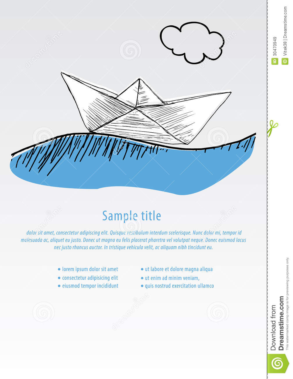 Vector Hand Draw Boat Template In Modern Design With Space For