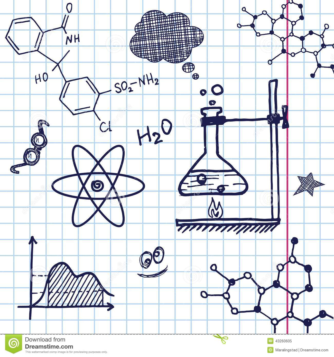 Line Drawing Chemistry : Vector hand draw chemistry elements stock image