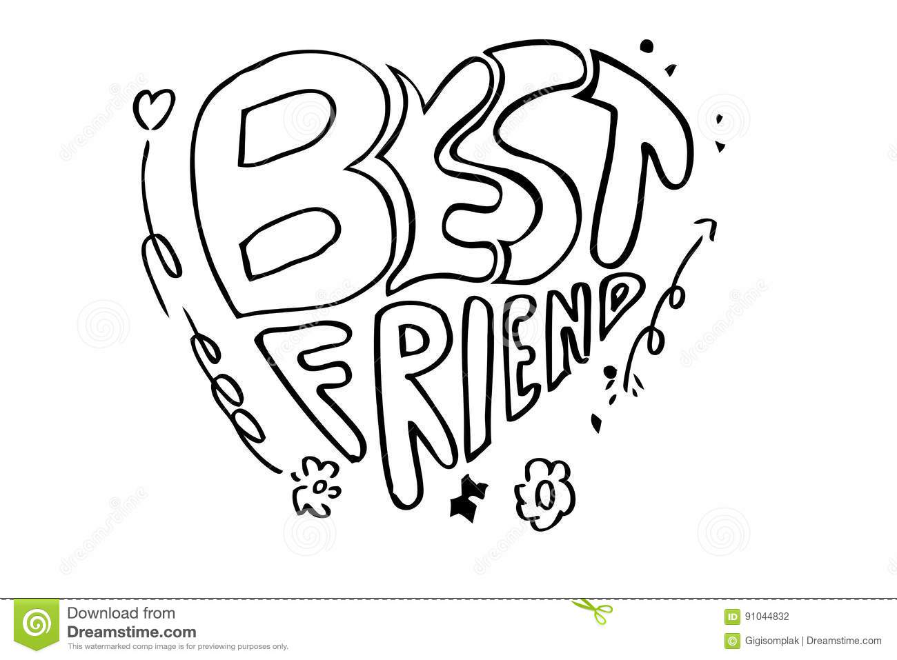 Hand Draw Sketch Of Lettering, Best Friend, Black Outline At