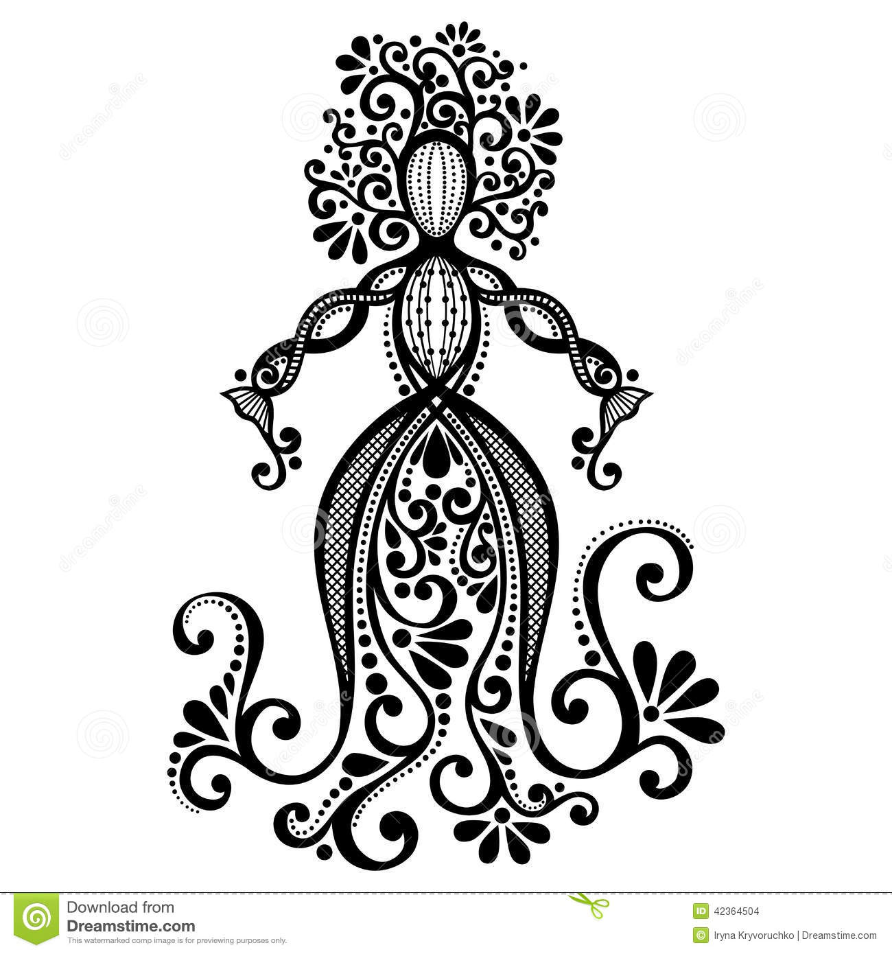 Vector Hand Drawing Silhouette Of Floral Goddess Stock