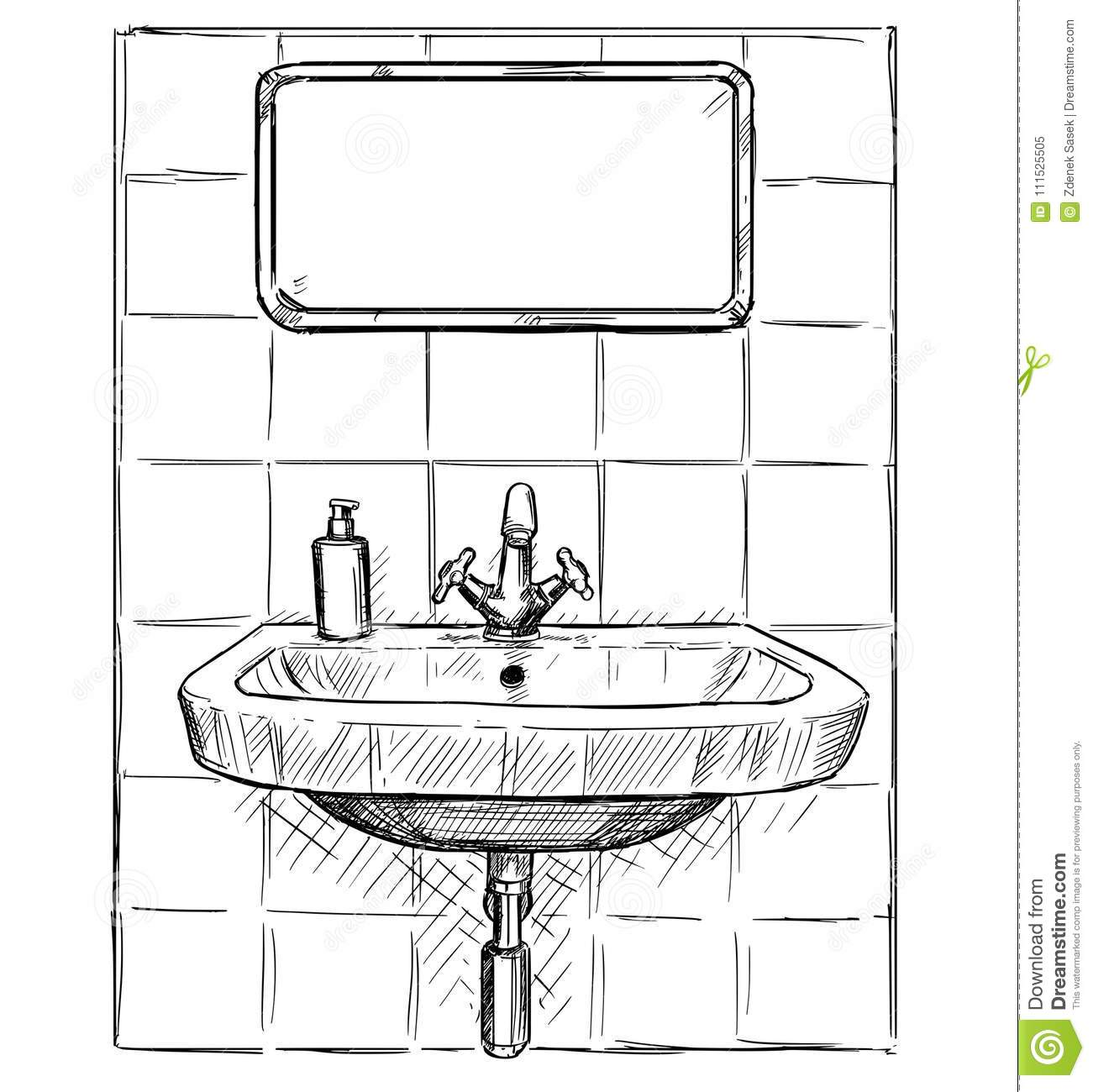 Vector Hand Drawing Of Sink And Mirror In Bathroom Stock