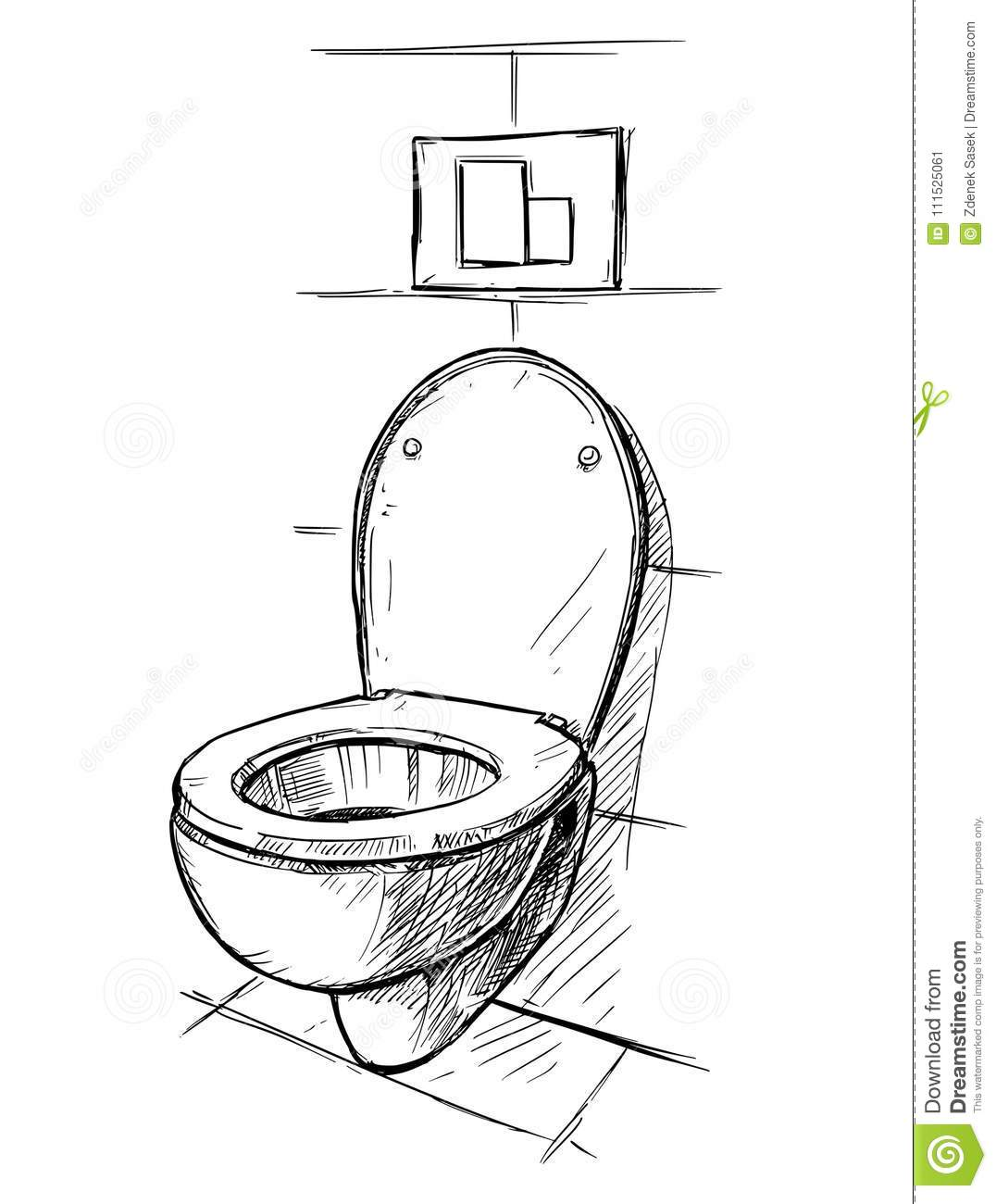 Vector Hand Drawing Of Toilet Bowl In Bathroom Stock Illustration
