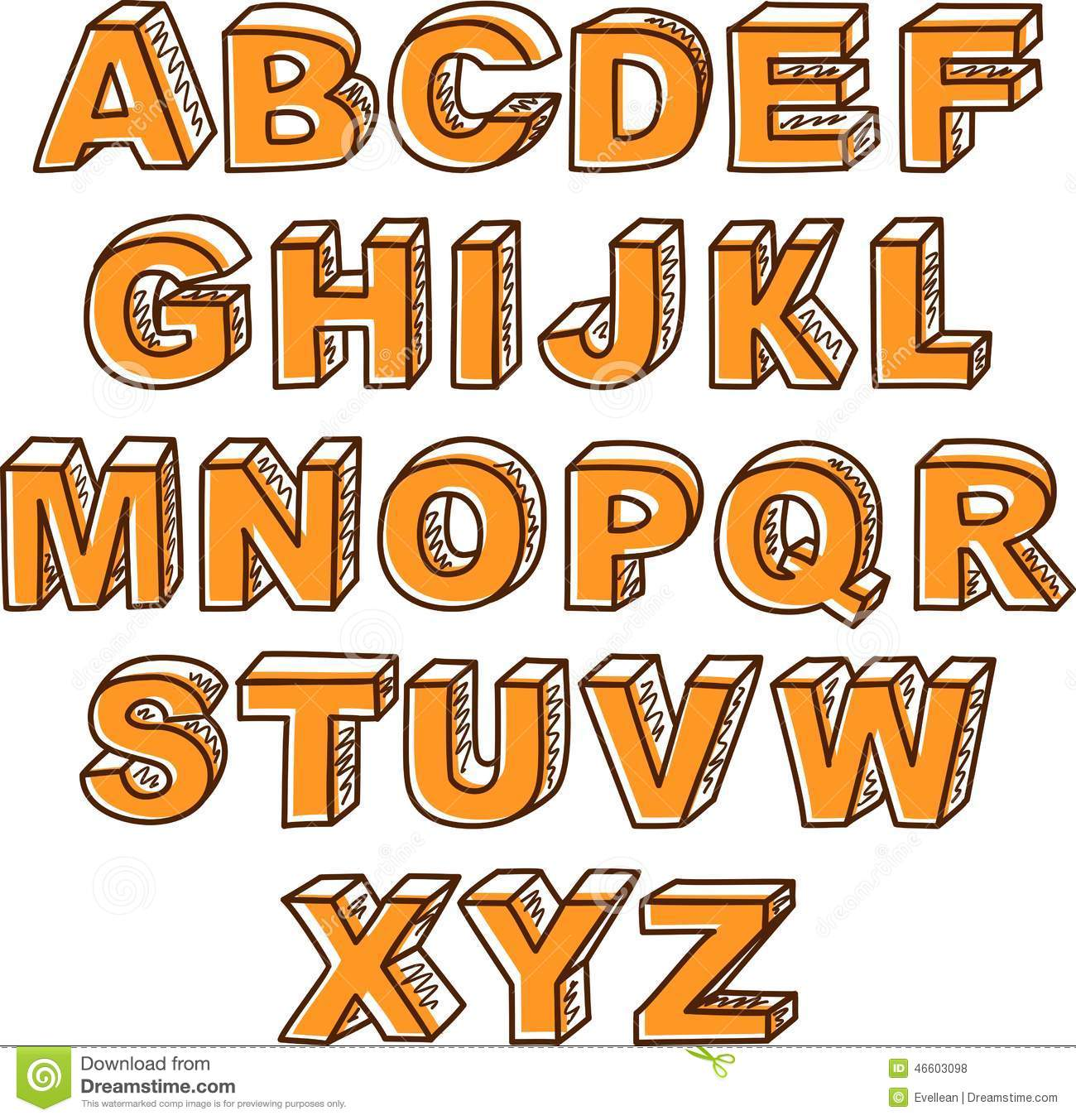 vector hand drawn abc letters
