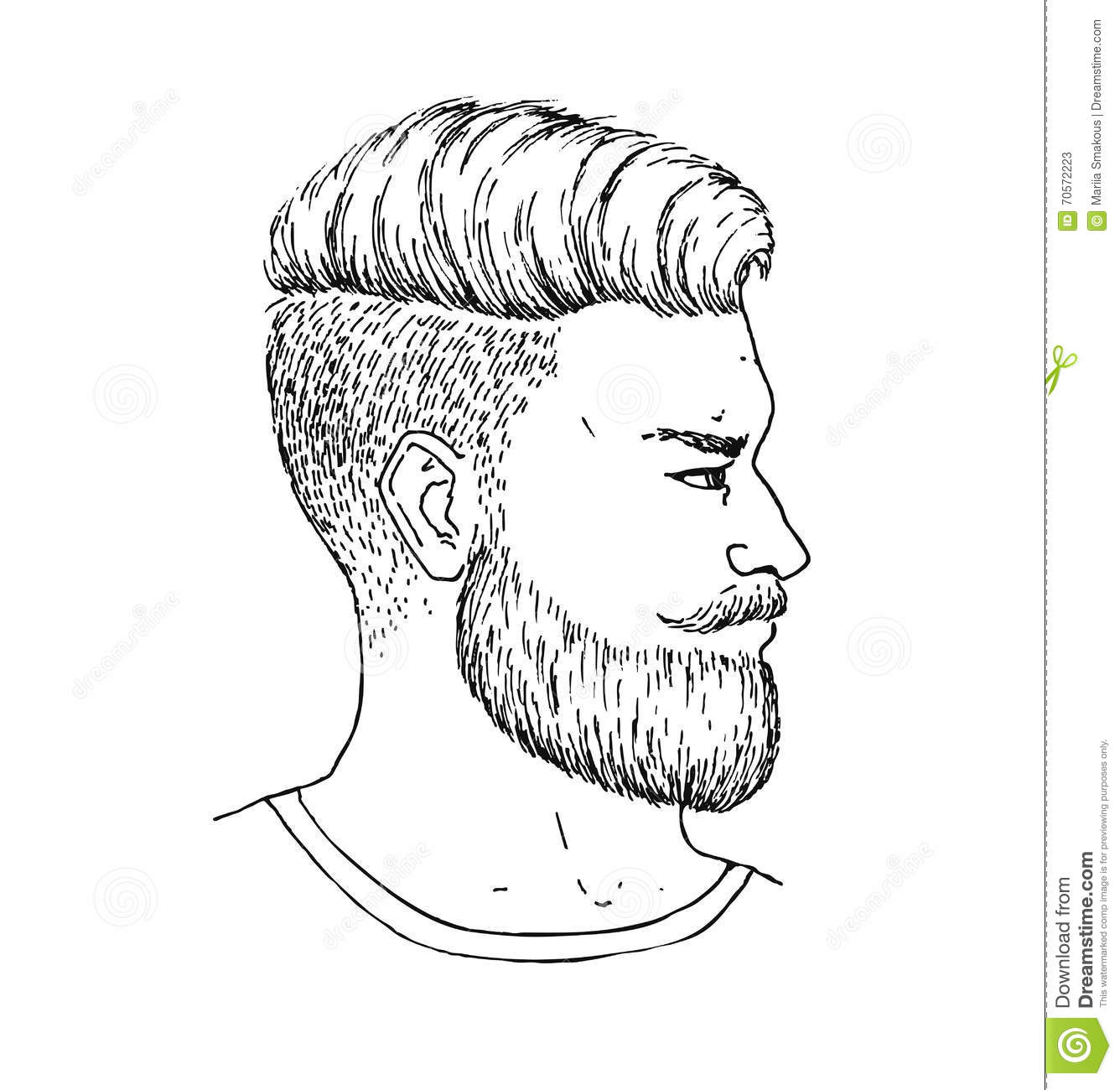 Vector Hand Drawn Adult Man With Beard And Mustage Side ...