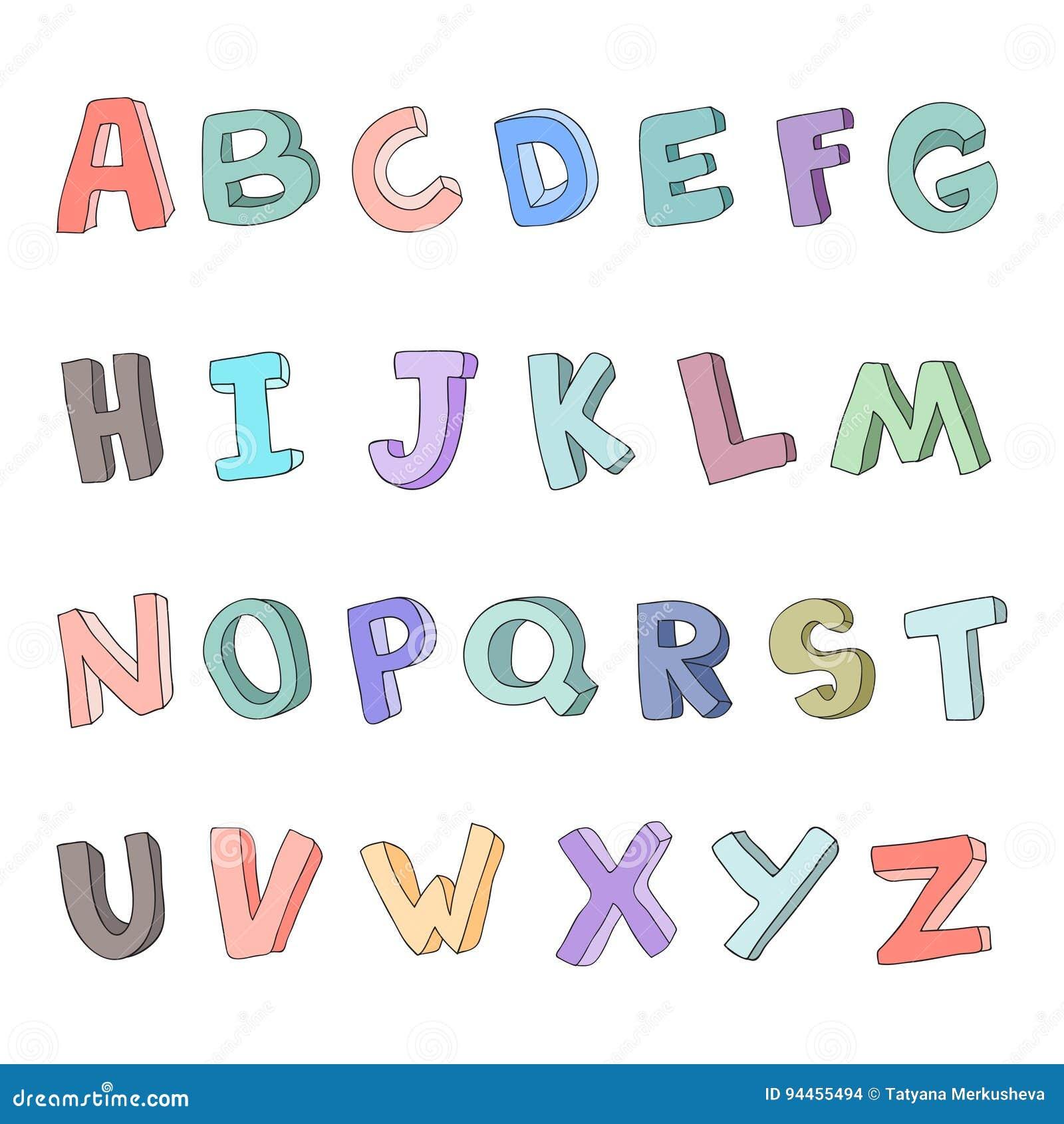Vector Hand-drawn Alphabet, Font, Letters  3D Doodle ABC For Kids