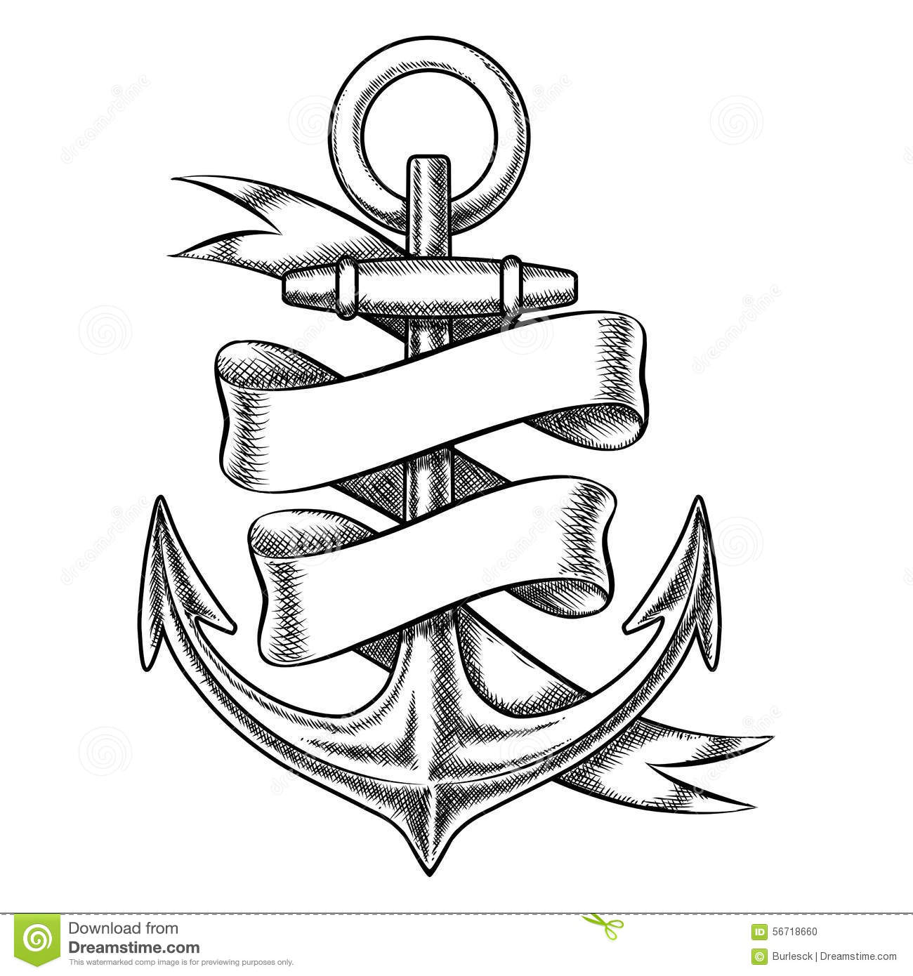 Iron Element Symbol Black And White Vector Hand Drawn Anch...
