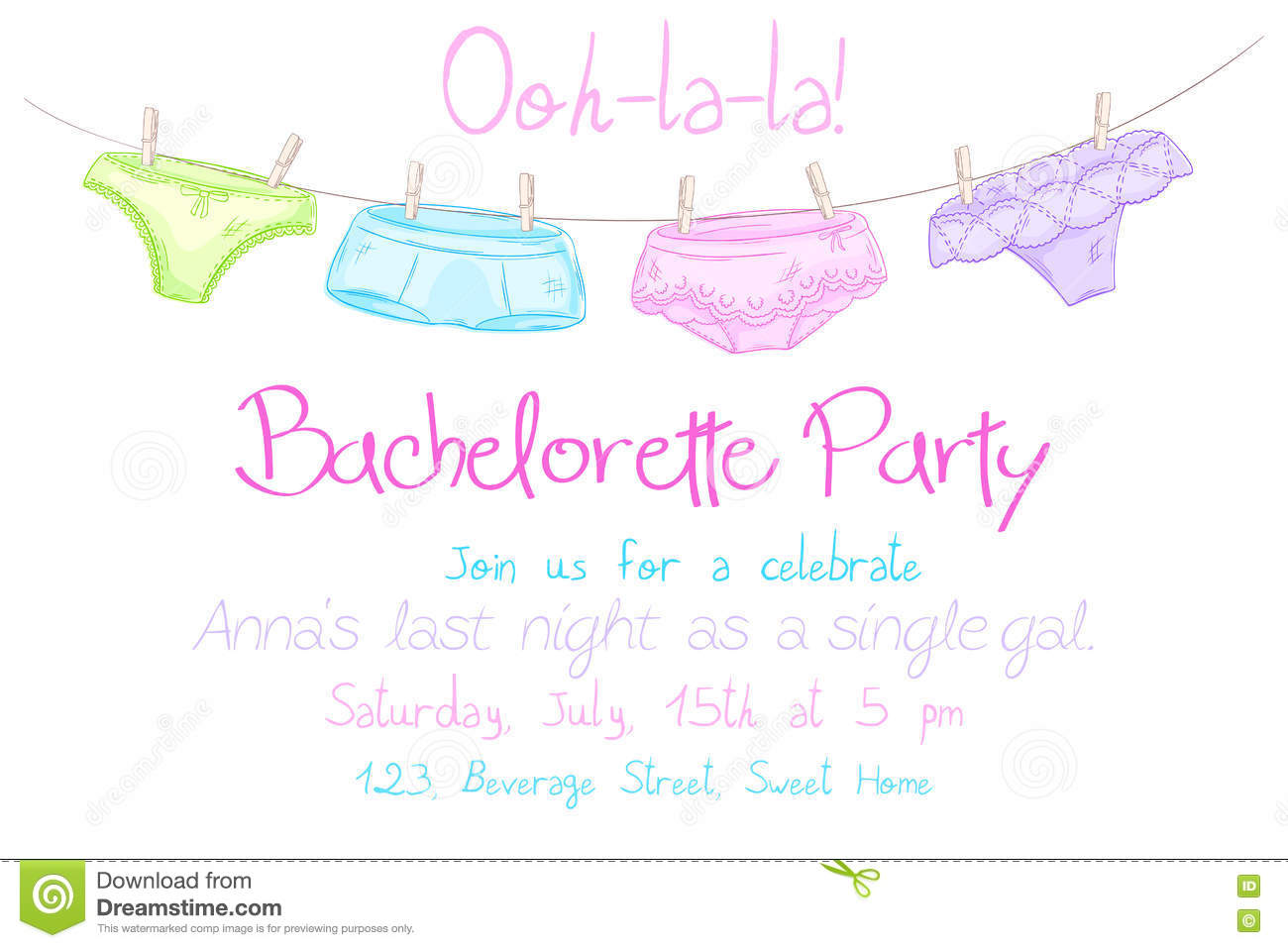 Vector Hand Drawn Bachelorette Party Invitation Card With Funny ...
