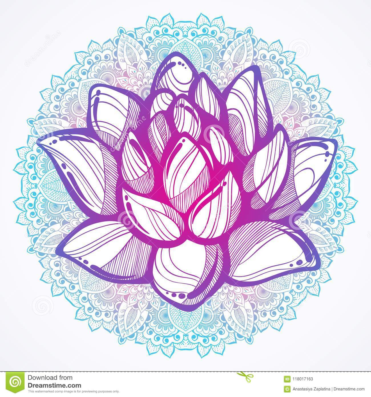 Vector Hand Drawn Beautiful Illustration Of Lotus Flower Over The