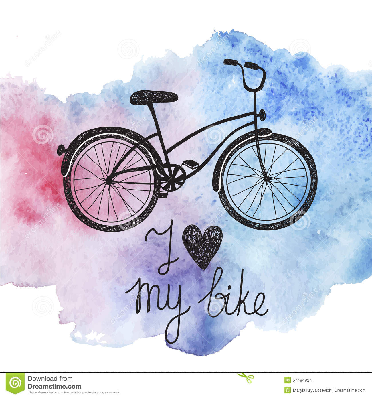 Vector hand drawn bicycle on watercolor background