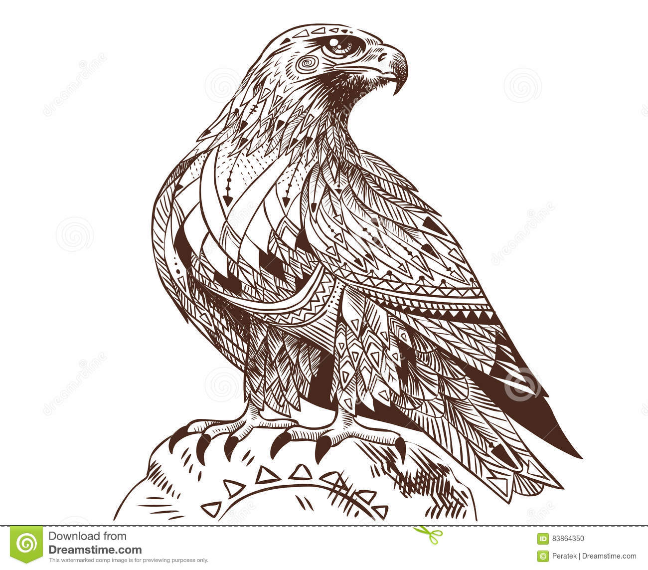 Vector Hand Drawn Bird Of Prey Sitting On A Stone Stock