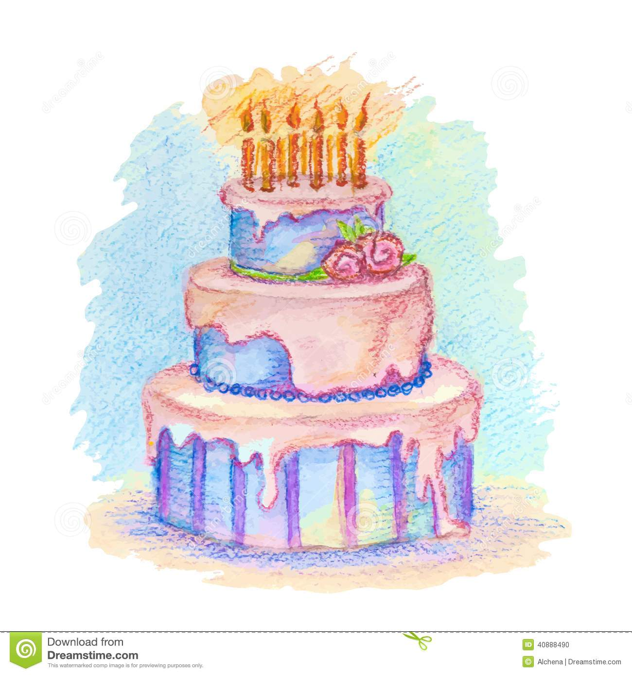 Vector Hand Drawn Birthday Cake Stock Illustration