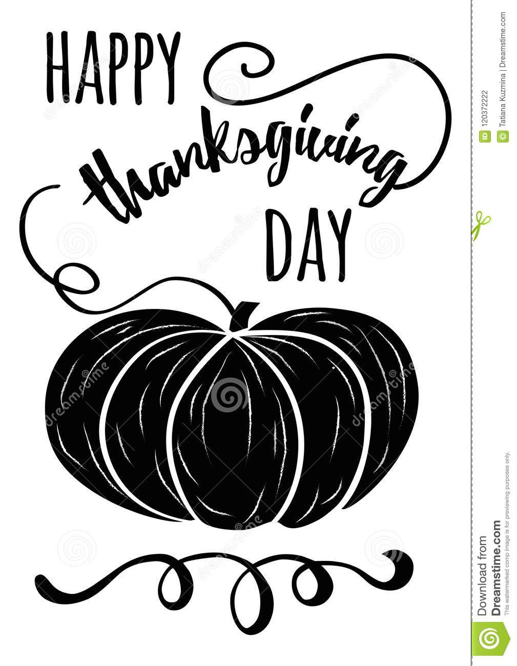 Vector Hand Drawn Black Pampkin And Thanksgiving Inspirational Quote On White Background Happy Thanksgiving Day