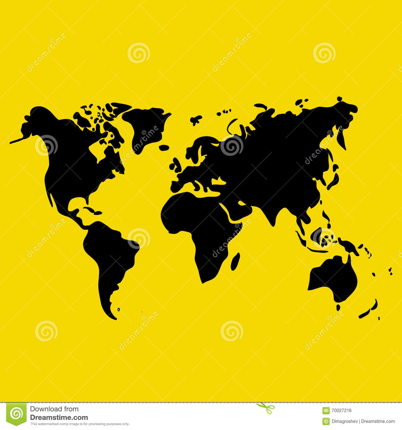Vector hand drawn black world map on yellow background doodle download comp gumiabroncs Gallery