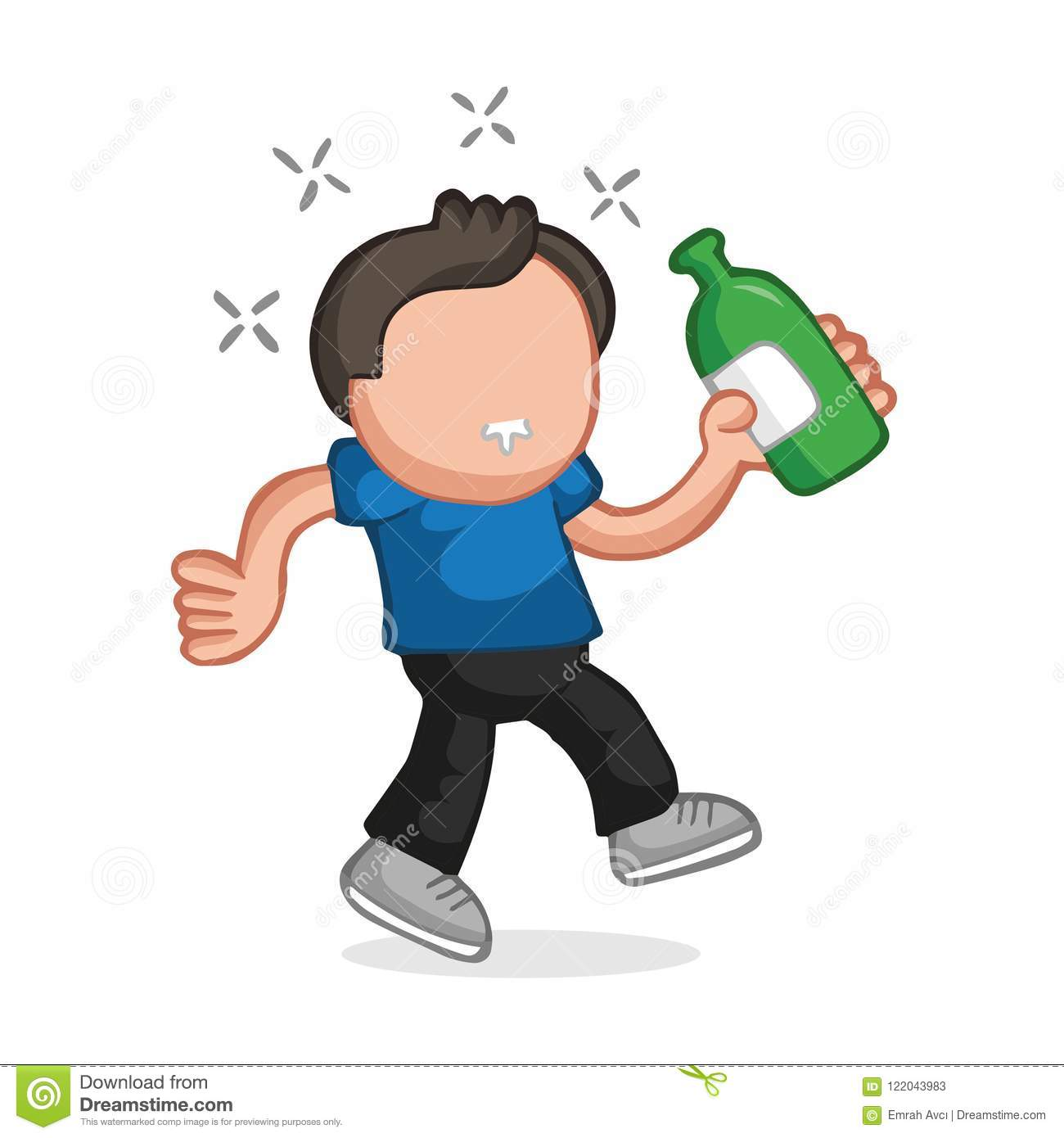 Vector Hand Drawn Cartoon Of Drunk Man Walking Holding Bottle Of