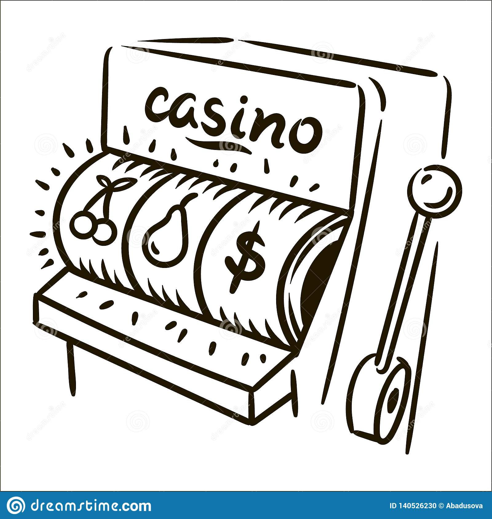Vector hand drawn casino simple sketch illustration on white background.