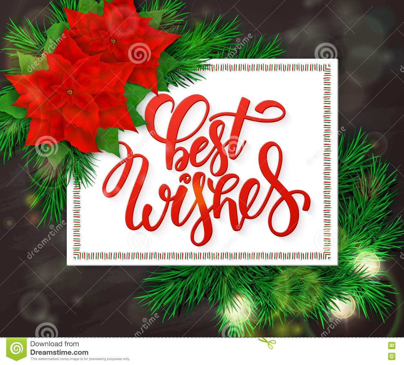 Vector hand drawn christmas lettering greetings text best wishes vector hand drawn christmas lettering greetings text best wishes with christmas brunch poinsettia flowers and bulb kristyandbryce Image collections