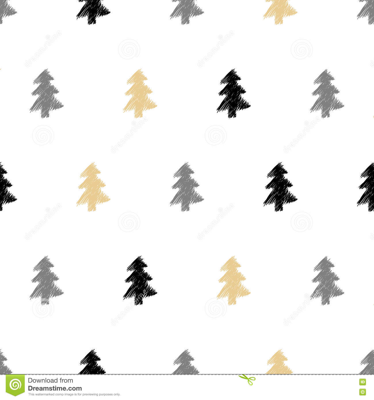 Vector Hand Drawn Christmas Tree Fir Seamless Pattern In