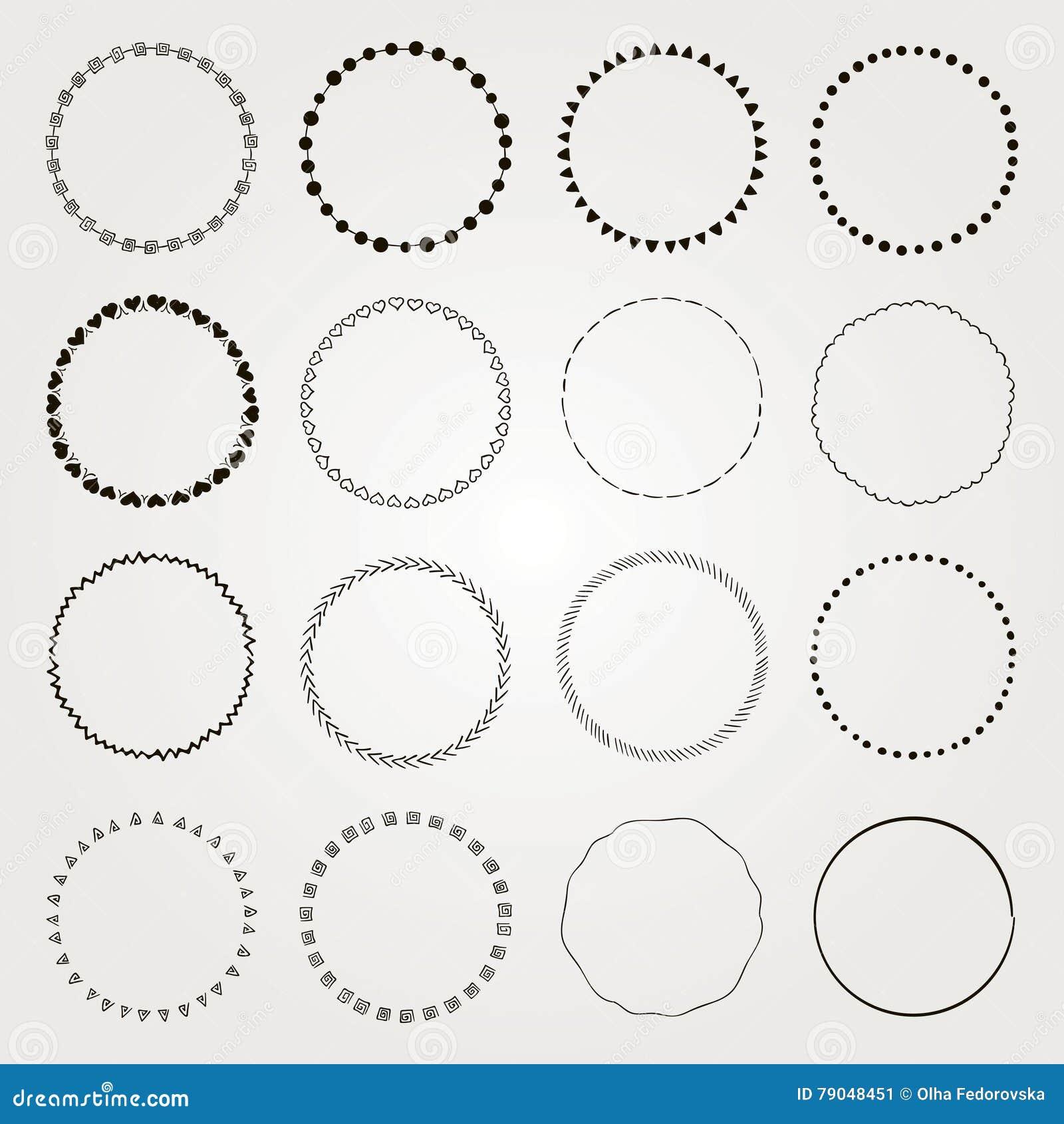 Vector Hand Drawn Circle Logo And Badge Elements Set