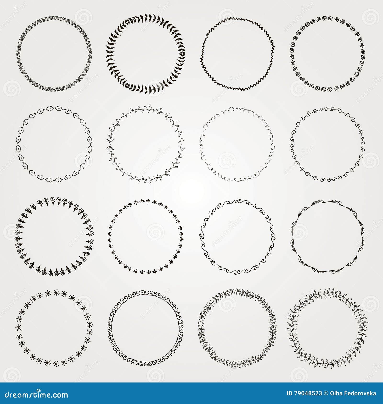 Set Of Hand Drawn Black Doodle Circle Logo Badge Elements Borders Frames Rustic Decorative Design Florals