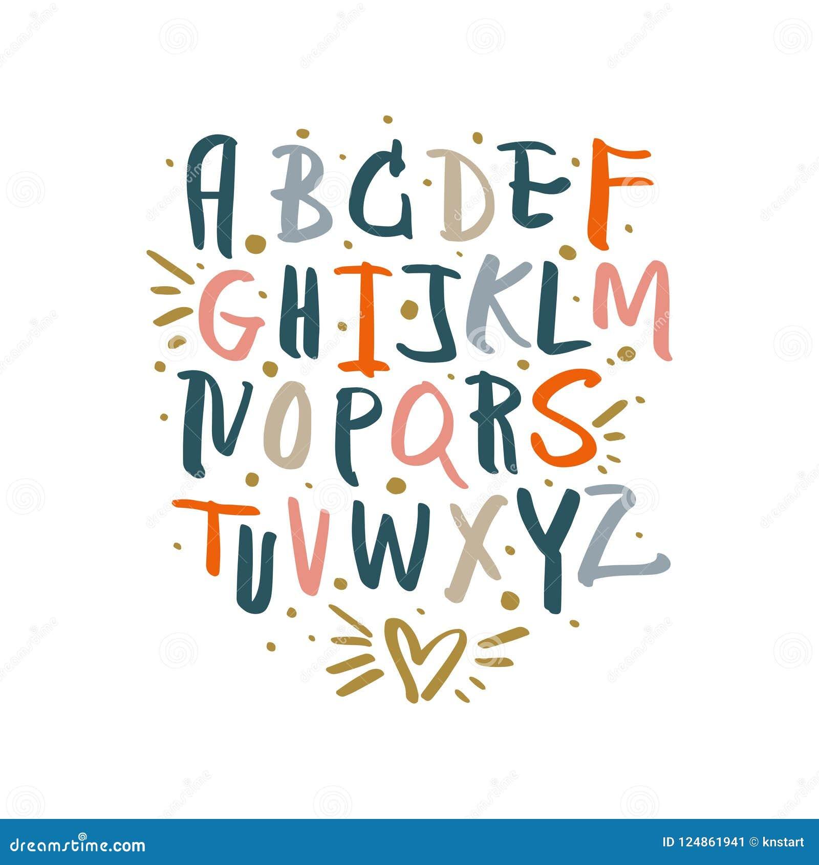 Vector Cute Brush Hand Drawn Lettering Alphabet Stock